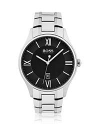 BOSS - Metallic Polished Stainless-steel Watch With Two-tier Black Dial And Link Bracelet for Men - Lyst
