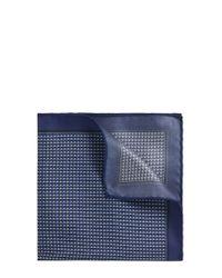BOSS Blue Patterned Italian Silk Twill Pocket Square for men