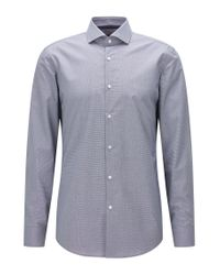 HUGO | Blue Slim-fit Shirt In Micro-check Cotton for Men | Lyst