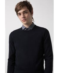 HUGO - Blue Crew-neck Sweater In Merino Wool for Men - Lyst