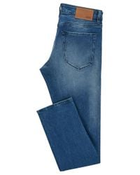 BOSS - Blue Regular-fit Stretch Denim Jeans With Bleached Finish for Men - Lyst