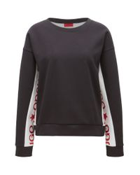 HUGO - Multicolor Cotton-blend Sweater With Contrast Inserts - Lyst