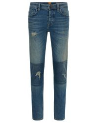 BOSS Orange - Blue Tapered-fit Jeans In Vintage Comfort Denim for Men - Lyst