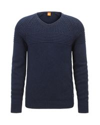 BOSS Orange | Blue Rib-panelled Cotton Sweater for Men | Lyst
