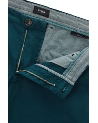 BOSS - Green Cotton Stretch Chino Pant, Slim Fit | Rice D for Men - Lyst