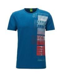 BOSS Green - Blue Regular-fit T-shirt In Stretch Single Jersey for Men - Lyst
