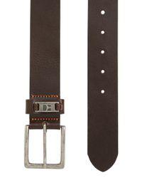 BOSS - Brown Leather Belt With Branded Metal Loop for Men - Lyst