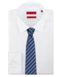 HUGO - Blue Silk Tie With Diagonal Stripes for Men - Lyst