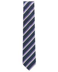 BOSS - Blue Striped Silk Tie for Men - Lyst