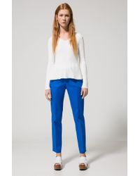 HUGO - White V-neck Peplum Sweater In An Engineered Ribbed Structure - Lyst