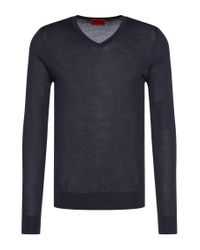 HUGO - Blue Plain Slim-fit Sweater In New-wool Blend: 'san Carlo' for Men - Lyst