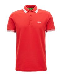 BOSS - Red 'paddy' | Modern Fit, Cotton Polo Shirt for Men - Lyst
