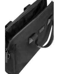 HUGO - Black Gabardine Nylon Document Case With Leather Trims for Men - Lyst