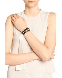 BOSS - Black Leather Bracelet With Padlock Detail - Lyst