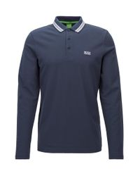 BOSS Green - Blue Long-sleeved Polo Shirt In Cotton Piqué: 'plisy' for Men - Lyst
