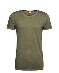 BOSS Orange | Green Regular-fit T-shirt In Garment-dyed Cotton for Men | Lyst
