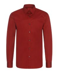 HUGO | Red Plain Slim-fit Shirt In Stretch Cotton: 'elisha' for Men | Lyst