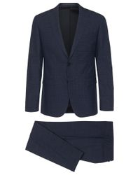 BOSS - Blue Extra-slim-fit Suit In Textured New Wool: 'reyno1/wave1' for Men - Lyst