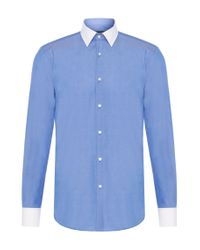 BOSS - Blue Slim-fit Shirt In Cotton With Contrasting Details: 'jonnes' for Men - Lyst