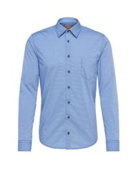 BOSS Orange - Blue Finely Striped Slim-fit Shirt In Cotton: 'enamee' for Men - Lyst