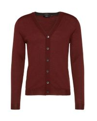 BOSS - Brown Slim-fit Cardigan In New Wool With A Button Placket: 'mardon-b' for Men - Lyst