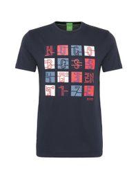 BOSS Green | Blue Regular-fit Print T-shirt In Cotton: 'tee 2' for Men | Lyst