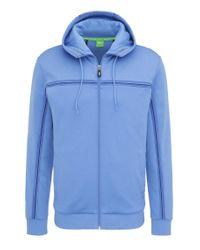 BOSS Green | Blue Regular-fit Sweatshirt Jacket In A Cotton Blend: 'saggy' for Men | Lyst