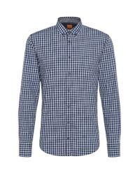 BOSS Orange | Blue 'edipoe' | Slim Fit, Cotton Plaid Button Down Shirt for Men | Lyst