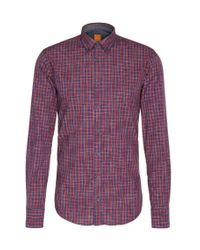 BOSS Orange | Red Slim-fit Shirt In Cotton With Checks: 'edipoe' for Men | Lyst