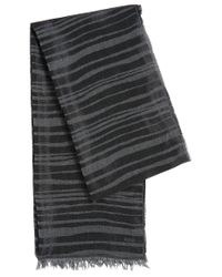 HUGO   Black Striped Scarf In Viscose Blend With Cotton: 'women-z 535'   Lyst