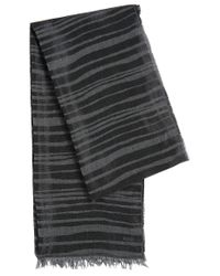 HUGO | Black Striped Scarf In Viscose Blend With Cotton: 'women-z 535' | Lyst
