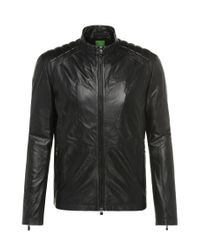 BOSS Green | Black Regular-fit Leather Jacket With Grain: 'cjaikido' for Men | Lyst