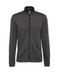BOSS Green | Black Regular-fit Sweatshirt Jacket In Mottled Cotton Blend: 'c-fossa' for Men | Lyst