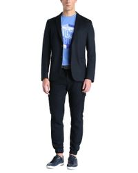 BOSS Green - Blue Tapered-fit Trousers In Textured Cotton: 'loomes-2-w' for Men - Lyst
