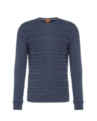 BOSS Orange | Blue Striped Regular-fit Sweater In Cotton Blend: 'wertigo' for Men | Lyst