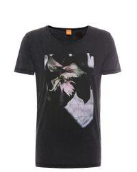 BOSS Orange | Black 'torvind' | Cotton Lily Print T-shirt for Men | Lyst