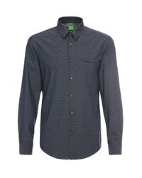BOSS Green | Blue Regular-fit Shirt In Cotton With Chequerboard Pattern: 'c-bacchis' for Men | Lyst
