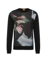 BOSS Orange | Black Regular-fit Printed Sweater In Cotton Blend: 'whit' for Men | Lyst