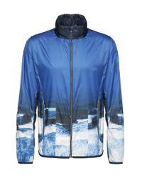 BOSS Green | Blue 'jocean' | Printed Bomber Jacket, Concealed Hood for Men | Lyst