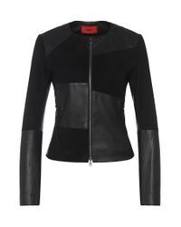 HUGO | Black Leather Jacket In Patchwork Design With Texture Mix: 'lancy' | Lyst