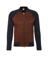 BOSS Orange - Blue Slim-fit Cardigan In Cotton With Contrasting Trim: 'arbomer' for Men - Lyst