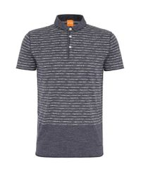 BOSS Orange | Blue Relaxed-fit Polo Shirt In Cotton With A Striped Pattern: 'priam' for Men | Lyst