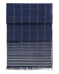 BOSS Orange | Blue Patterned Cotton Scarf With Stripes And Short Fringes: 'nikolei' for Men | Lyst
