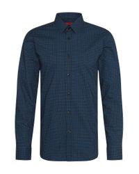 HUGO   Black Checked Extra Slim-fit Shirt In Cotton: 'elisha' for Men   Lyst