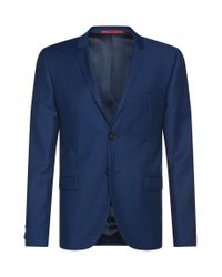 HUGO - Blue Extra Slim-fit Suit In Finely Textured New Wool: 'adris4/heilon' for Men - Lyst