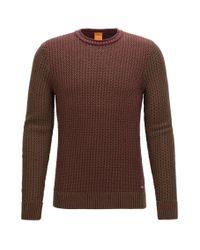 BOSS Orange   Crew-neck Sweater In Structured Cotton for Men   Lyst