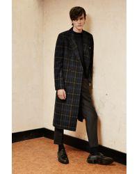HUGO - Blue 'melox'   Wool Blend Glen Check Long Coat for Men - Lyst