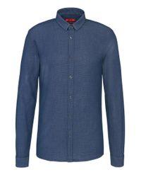 HUGO | Blue 'ero' | Slim Fit, Stretch Cotton Button Down Shirt for Men | Lyst