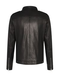 HUGO - Black 'lonn' | Lambskin Moto Jacket for Men - Lyst