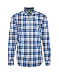 BOSS Green   Blue 'blumas'   Slim Fit, Cotton Button Down Shirt for Men   Lyst